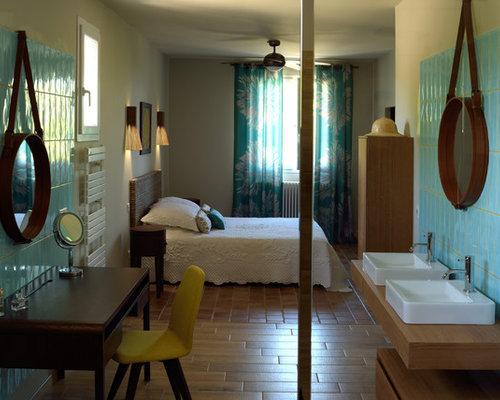 Chambre exotique avec un mur beige : Photos et idées déco de chambres