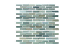 "Reflections Hand Painted Glass Mosaic Subway Tile, 12""x12"""