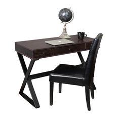 Gdfstudio Geena  Drawer Dark Brown Wood Writing Desk Desks And