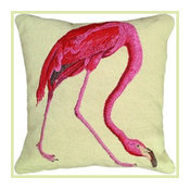 Pink Flamingo Needlepoint Pillow, Audubon