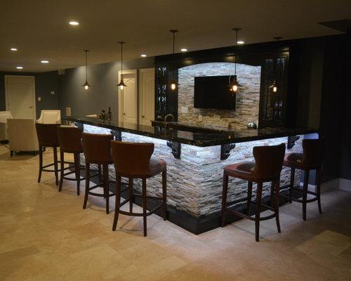 photos et id es d co de sous sols avec un sol en travertin. Black Bedroom Furniture Sets. Home Design Ideas