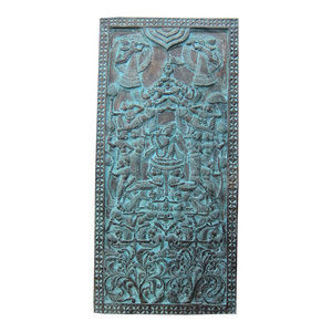 Mogul Interior - Consigned Vintage Indian Doors Blue Patina Radha Krishna Carving Wall Hanging - Hand carved wall panels of seated fluting Krishna on the double lotus flower base with fairy from India.