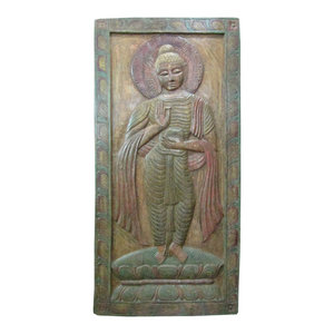Mogul Interior - Consigned Indian Buddha Wall Panel Green Patina Door-Vitarka Mudra - The Buddha standing on double lotus base hand carved colorful door panel from India.