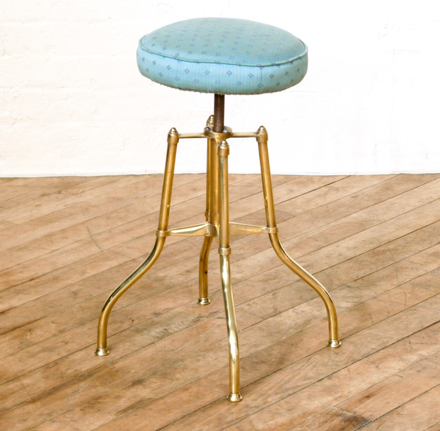 Classic Barstools Enhance This Traditional Kitchen: Edwardian Brass Musicians Stool