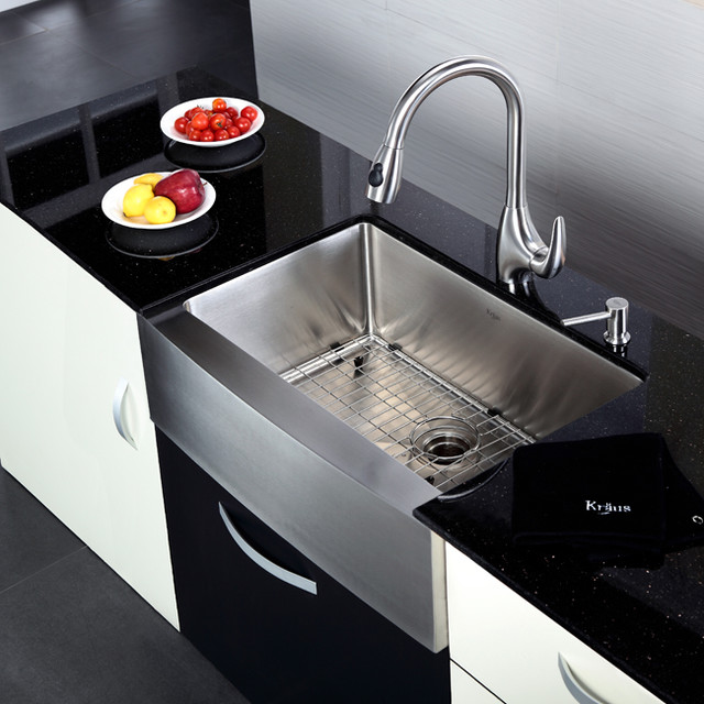 Modern Kitchen Sink Faucets: Kraus KHF200-30-KPF2170-SD20 30 Inch Farmhouse Sink And