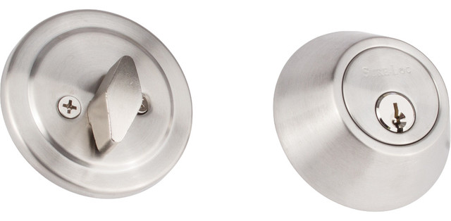 Contemporary Single Cylinder Deadbolt, Polished Chrome - Contemporary - Door Locks - by Sure-Loc ...