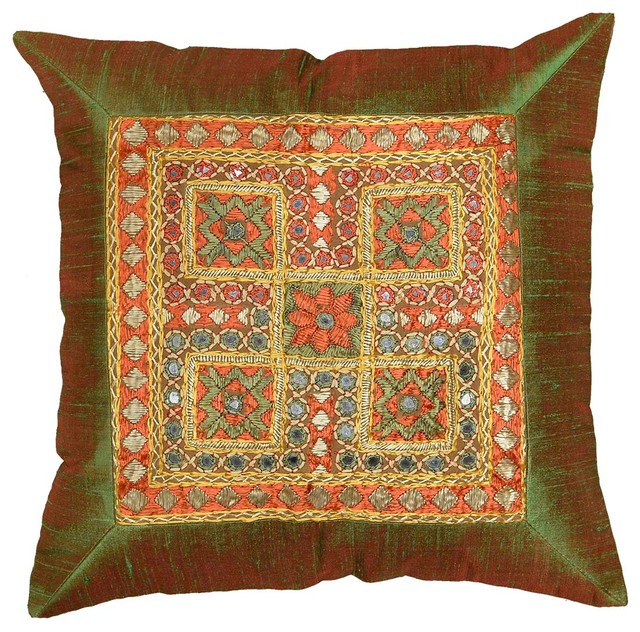 Traditional Sofa Pillows : Silk Olive Green Accent Sofa Mirror Pillow Cover, 16? X 16? - Traditional - Decorative Cushions ...