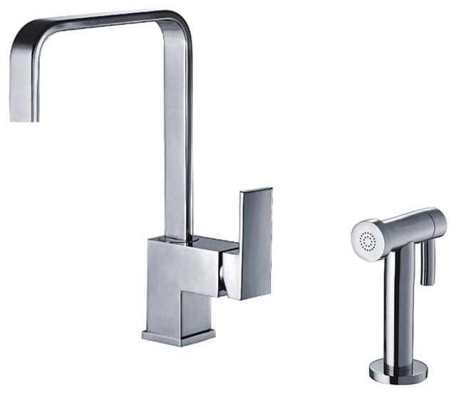Modern Kitchen Faucets: Jem Collection Single Lever Handle Faucet With Brass Side