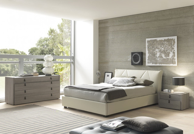 Esprit modern eco leather bedroom set in grey beige for Gray bedroom furniture sets