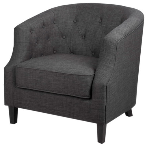Ansley Charcoal Gray Tub Chair - Contemporary - Armchairs And Accent Chairs - by Overstock.com