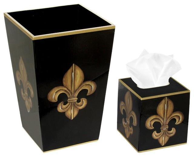 Trash bin with tissue box cover black and gold fleur de for Gold bathroom bin