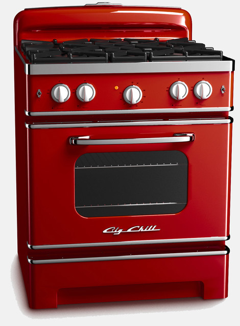 Big Chill Retro Stove Cherry Red Big Chill Traditional Major Kitchen Appliances By Big