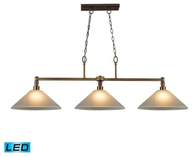 Modern Billiard Table Lights: Three Light Brushed Antique Brass Pool Table Light