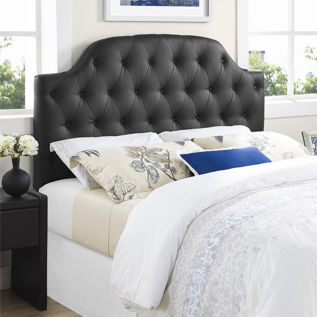 lyric black button tufted faux leather full queen headboard contemporary headboards by. Black Bedroom Furniture Sets. Home Design Ideas