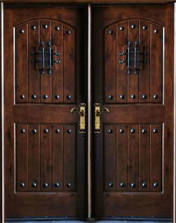 "Knotty Alder Exterior Front Entry Double Door 30""x80""x2 ..."