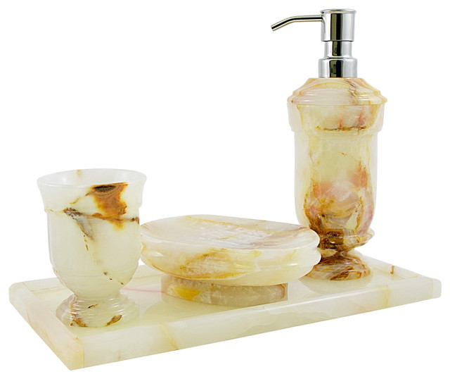 Nature Home Decor White Onyx Set With Vanity Tray