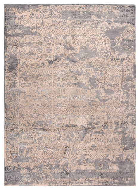 Jenny Jones Global Beige and Medium Blue Hand Knotted Rug Farmhouse Rugs