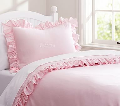 ruffle duvet cover pink twin duvet covers and duvet sets by pottery barn kids. Black Bedroom Furniture Sets. Home Design Ideas