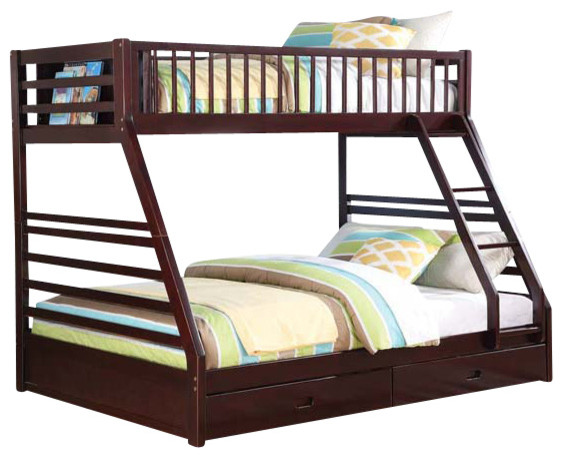 jason bunk bed with drawers espresso twin queen modern bunk beds