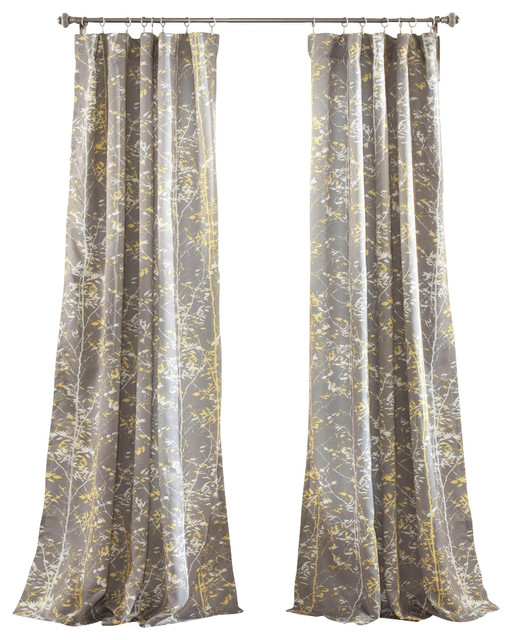 Black And Yellow Kitchen Curtains: Forest Window Panel Gray And Yellow Set