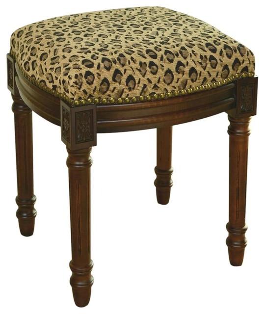 Vanity Stool Leopard Wood Stain Traditional Vanity
