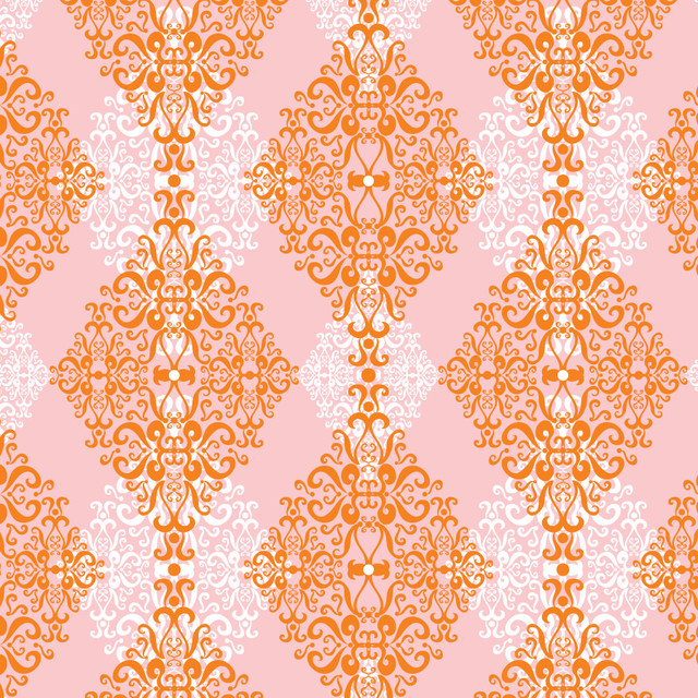 Diamond damask orange pink wall mural contemporary for Damask wall mural