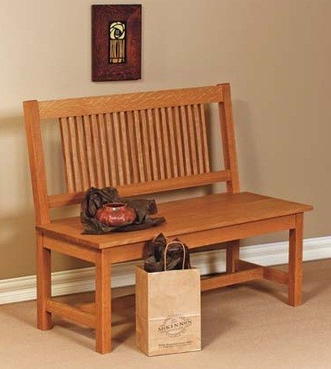 mission bench with back traditional indoor benches seattle by mckinnon furniture. Black Bedroom Furniture Sets. Home Design Ideas