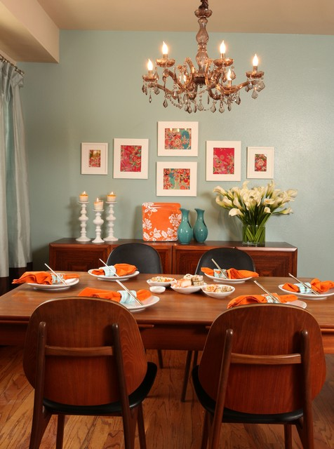 Go bold with color contemporary dining room los for Bold dining room colors