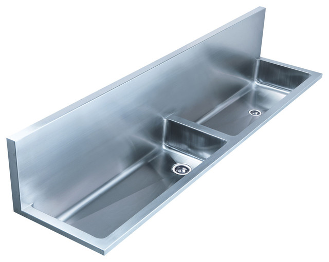 Double Bowl Wall Mount Utility Sink With Left Bowl - Contemporary ...