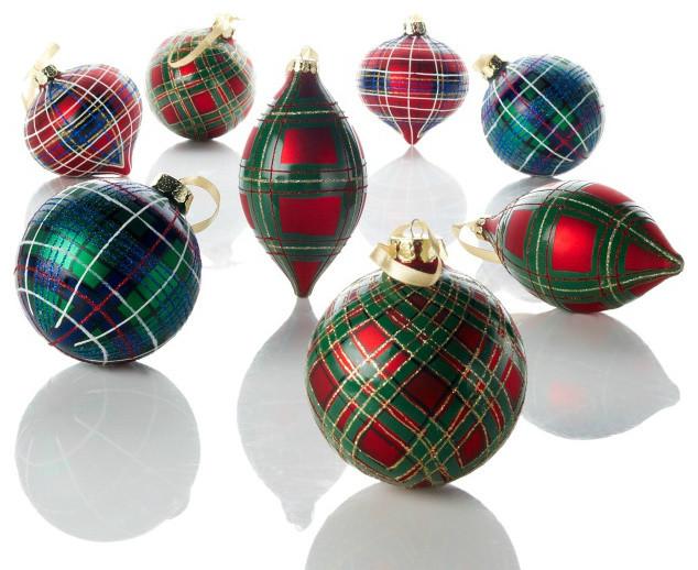 Traditional Glass Christmas Tree Ornaments : Jeffrey banks plaid tidings glass ornaments traditional