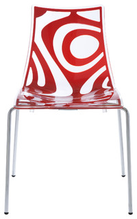 Wave Chairs, Set of 4, Translucent/Red/Chrome ...