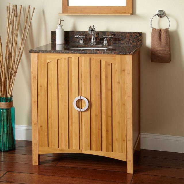 30 trang bamboo vanity for undermount sink modern for Modern bamboo bathroom vanity