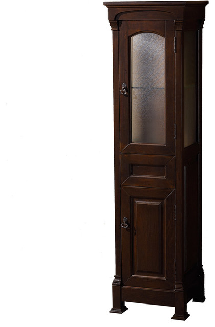 andover solid oak bathroom linen tower with cabinet