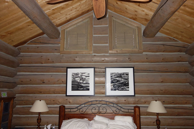Rustic Log Cabin With Wood Window Shutters Rustic