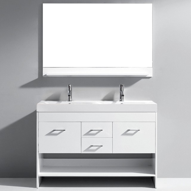 Virtu Gloria 48 Inch White Double Sink Bathroom Vanity Set Contemporary B