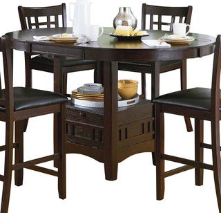 Homelegance junipero extension counter height table with for Traditional dining table bases