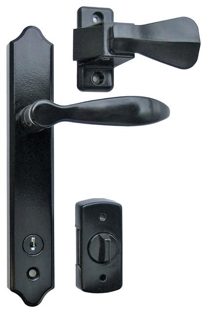 Deluxe Storm Door Handle Set With Deadbolt Black Door