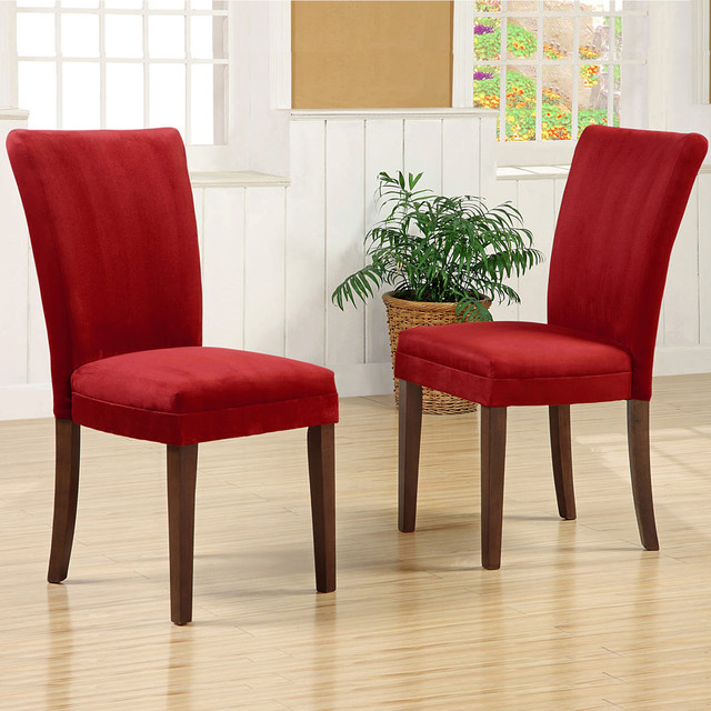 TRIBECCA HOME Parson Cranberry Red Dining Chairs Set Of 2 Contemporary