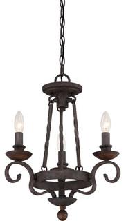 Noble Rustic Black Three Light Chandelier Modern