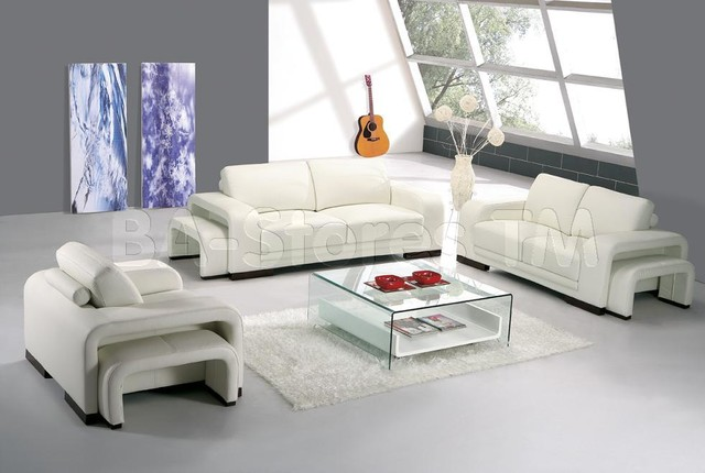 6 Pc Modern Leather Living Room Set In White Sofa