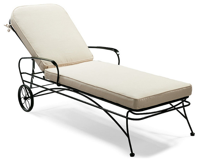 Ellington Wrought Iron Chaise with Solid Cushions Peony Frontgate Conte