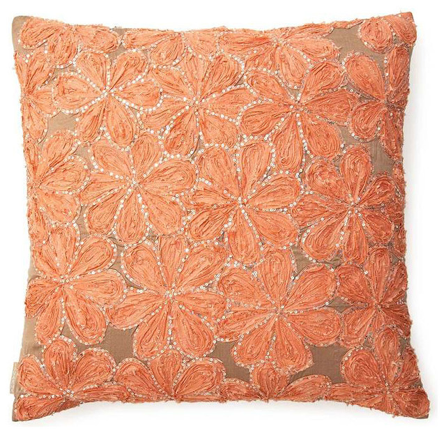 Silk Flowers Pillow, Peach - Contemporary - Decorative Pillows - by SIVAANA
