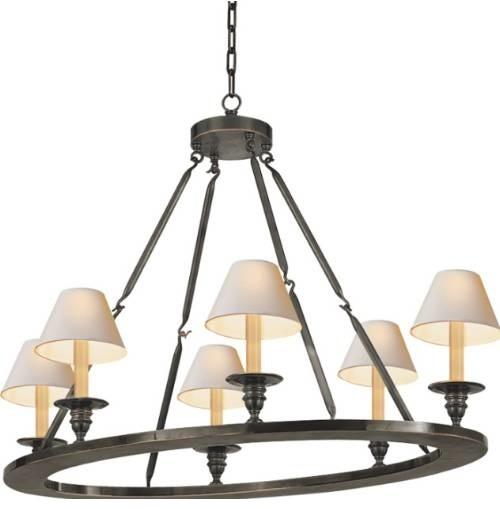 Visual Comfort CHC1444BZ Chart House 6 Light Oval Flat Line Chandelier in Bronze modern-chandeliers