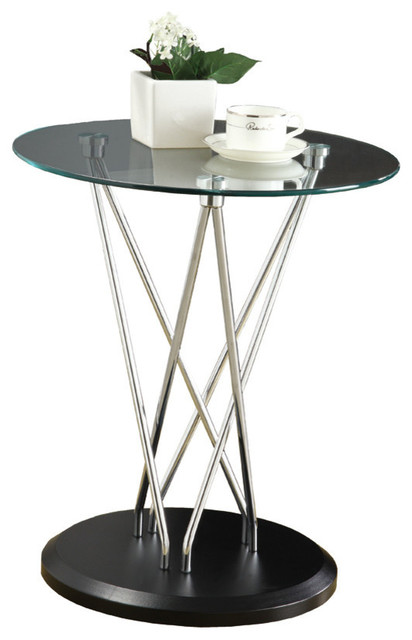 Monarch Specialties Metal Base Accent Table Tempered Glass Chrome Black Transitional Coffee