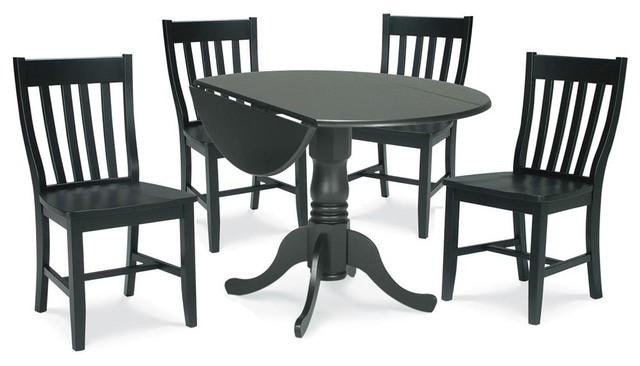5 Pc Dual Drop Leaf Table Set In Black Finish