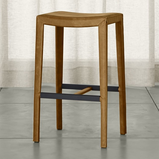 Folio Top Grain Leather Backless Bar Stool Contemporary