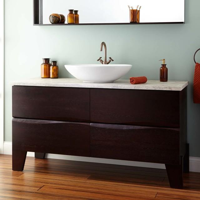 """60"""" roberson vessel sink single vanity - dark brown"""
