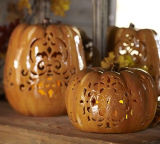 Punched Ceramic Pumpkin Luminaries Contemporary