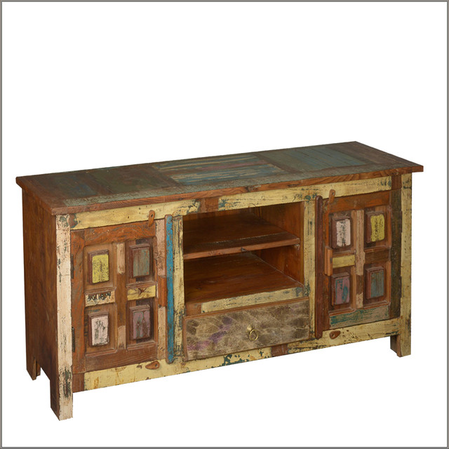 """60"""" Distressed Reclaimed Wood Primitive Rustic Media TV Console - Eclectic - Entertainment ..."""