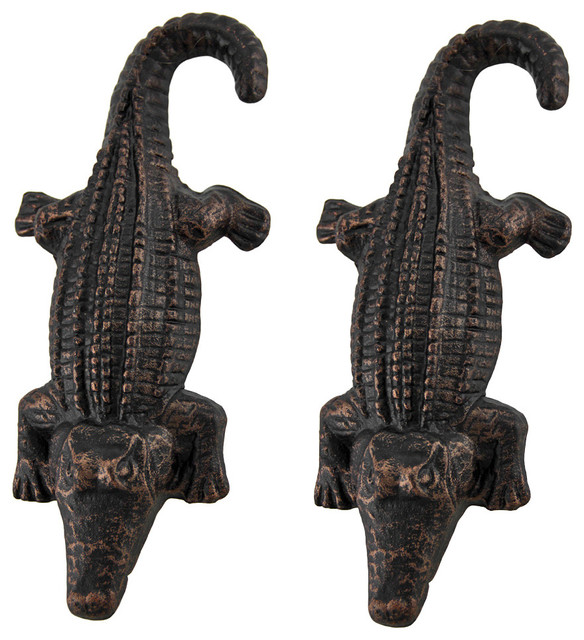 Set of 2 Antique Bronze Cast Iron Alligator Door Pulls - Contemporary - Cabinet And Drawer ...